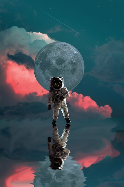 astronaut, moon, space