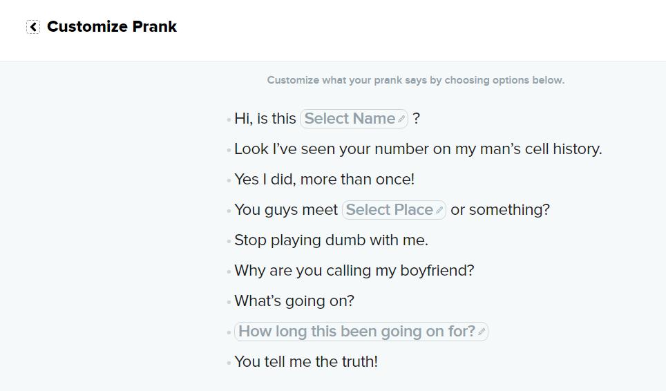Customize your Pranks at PrankDial