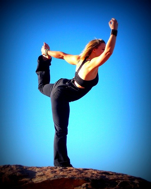 yoga, dancer, sky