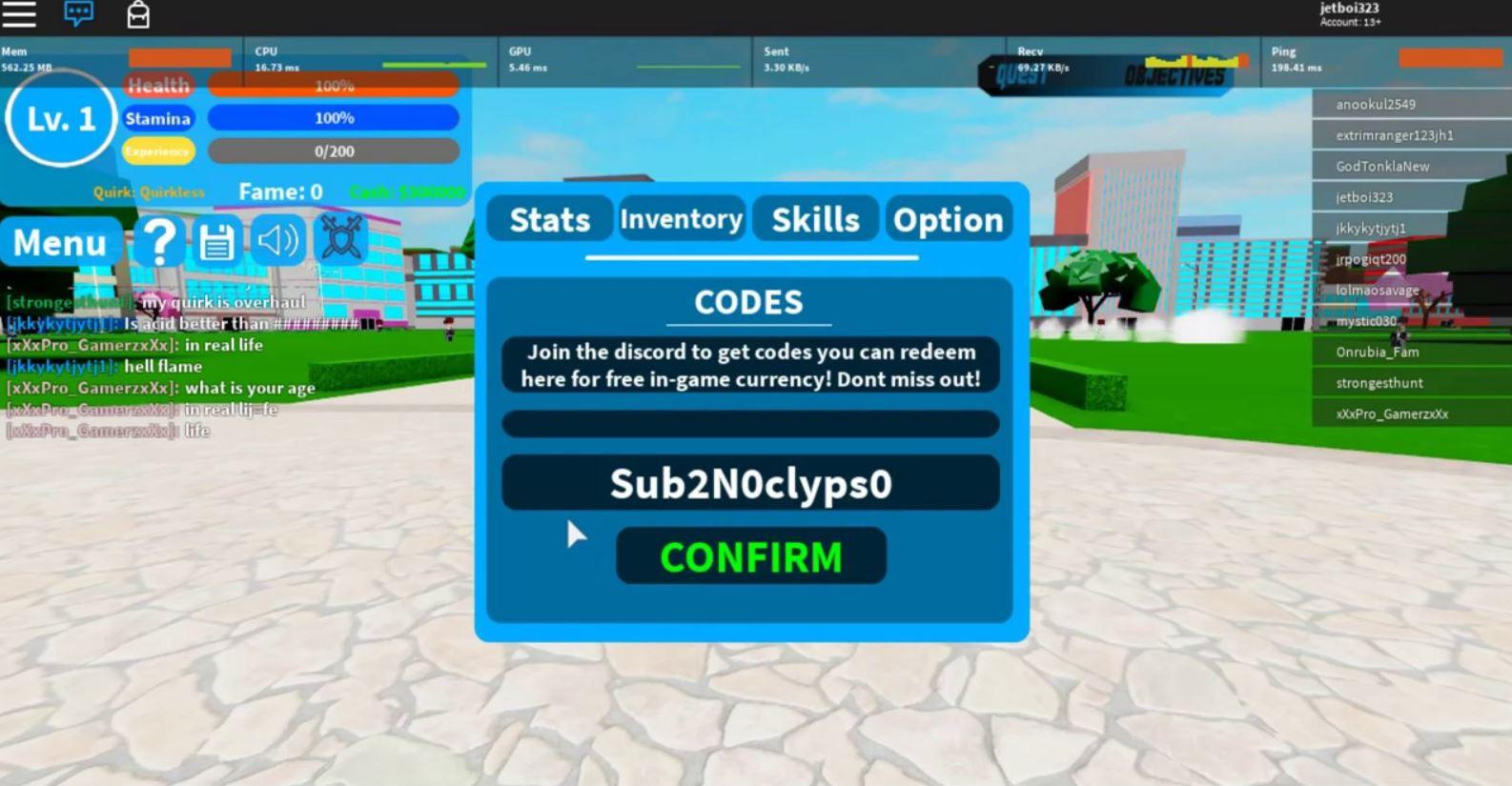 Boku No Roblox Codes
